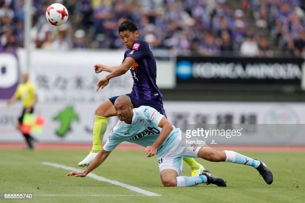 Kengo Kawamata of Jubilo Iwata dives for the header during the JLeague J1 match between Sanfrecce Hiroshima and Jubilo Iwata at Edion Stadium...
