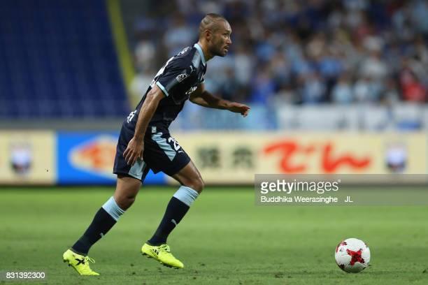 Kengo Kawamata of Jubilo Iwata in action during the JLeague J1 match between Gamba Osaka and Jubilo Iwata at Suita City Football Stadium on August 13...