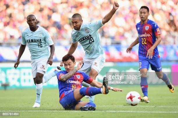 Kengo Kawamata of Jubilo Iwata is blocked by Jang Hyun Soo of FC Tokyo during the JLeague J1 match between FC Tokyo and Jubilo Iwata at Ajinomoto...