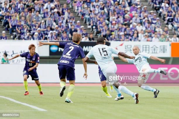 Kengo Kawamata of Jubilo Iwata shoots at goal during the JLeague J1 match between Sanfrecce Hiroshima and Jubilo Iwata at Edion Stadium Hiroshima on...