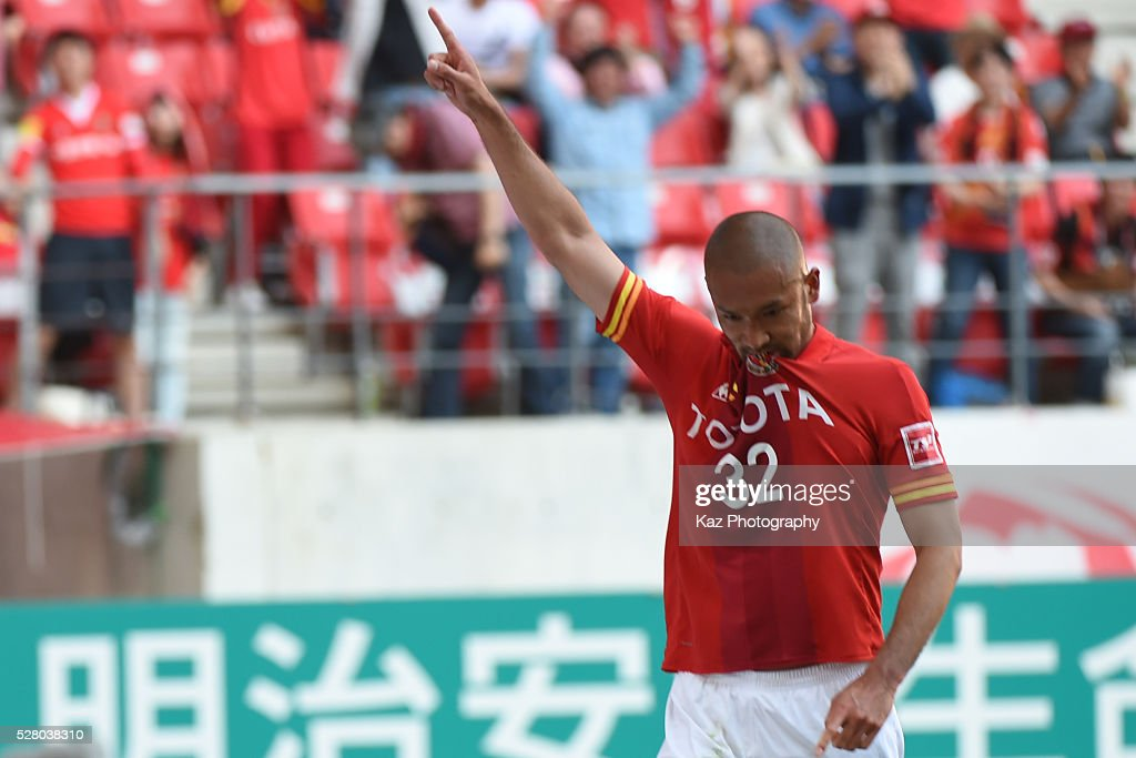 Kengo Kawamata of Nagoya Grampus celebrates the 3rd goal during the J.League match between Nagoya Grampus and Yokohama F.Marinos at the Toyota Stadium on May 4, 2016 in Toyota, Aichi, Japan.