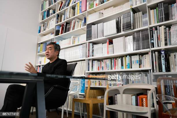Kengo Kuma Japanese architect speaks during an interview in Tokyo Japan on Friday May 12 2017 Using Japanese lumber for the centerpiece...