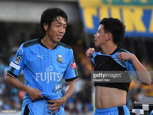 Kengo Nakamura and Tatsuya Hasegawa of Kawasaki Frontale look on during the JLeague Levain Cup semi final second leg match between Kawasaki Frontale...