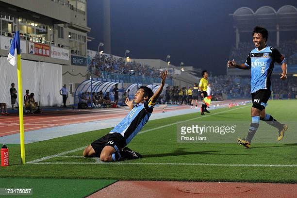 Kengo Nakamura celebrates socirng his team's first goal during the JLeague match between Kawasaki Frontale and Urawa Red Diamonds at Todoroki Stadium...