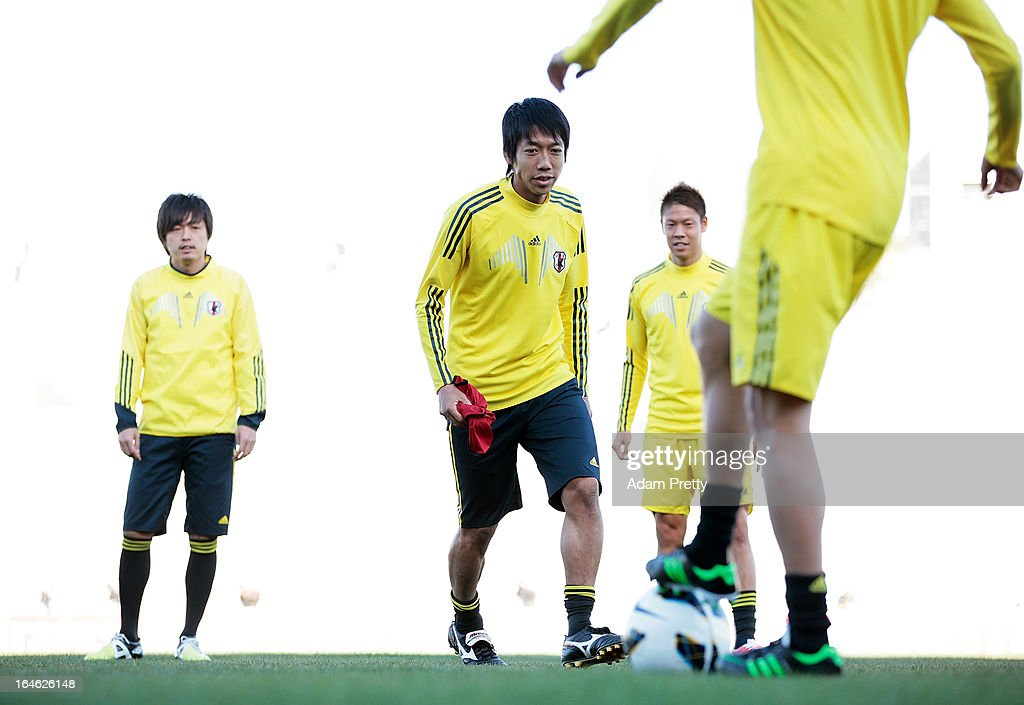 <a gi-track='captionPersonalityLinkClicked' href=/galleries/search?phrase=Kengo+Nakamura&family=editorial&specificpeople=4032936 ng-click='$event.stopPropagation()'>Kengo Nakamura</a> of Japan in action during the training session ahead of the World Cup qualifier against Jordan at King Abdullah International Stadium on March 25, 2013 in Amman, Jordan.