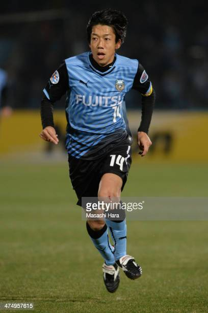 Kengo Nakamura of Kawasaki Frontale bleed from knee during the AFC Champions League Group H match between Kawasaki Frontale and Guizhou Renhe at...