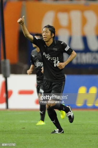 Kengo Nakamura of Kawasaki Frontale celebrates scoring his side's second goal during the JLeague J1 match between Albirex Niigata and Kawasaki...