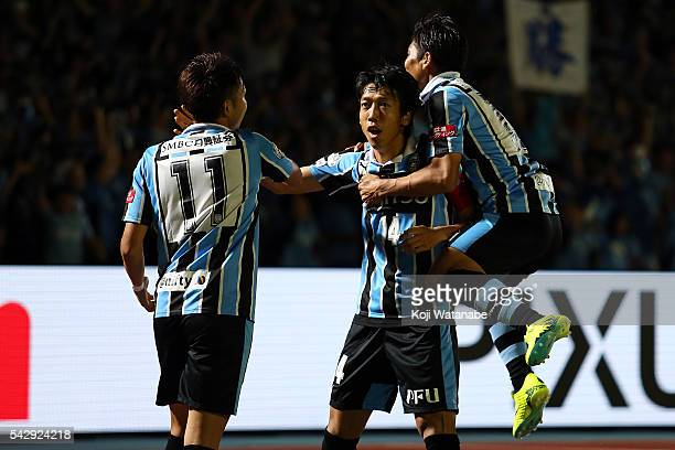 Kengo Nakamura of Kawasaki Frontale celebrates scoring his team's second goal with his team mates during the JLeague match between Kawasaki Frontale...