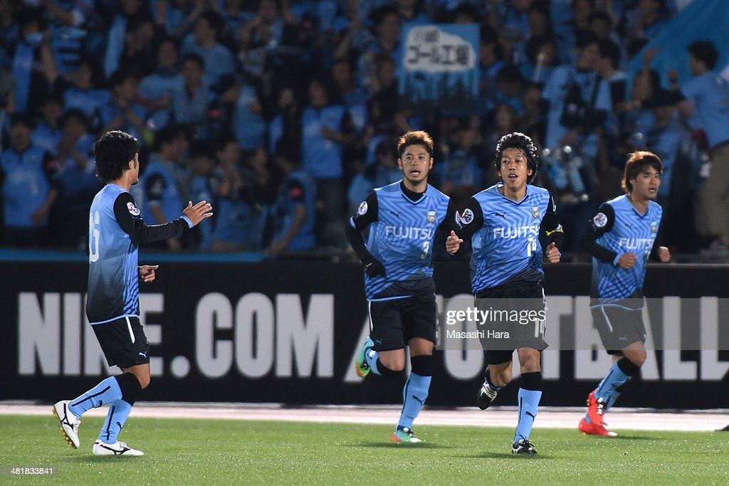 Kengo Nakamura #14 of Kawasaki Frontale celebrates the first goal during the AFC Champions League Group H match between Kawasaki Frontale and Western Sydney Wanderers at Todoroki Stadium on April 1, 2014 in Kawasaki, Japan.