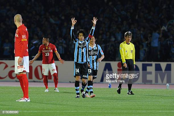 Kengo Nakamura of Kawasaki Frontale celebrates the third goal during the JLeague match between Kawasaki Frontale and Nagoya Grampus at the Todoroki...