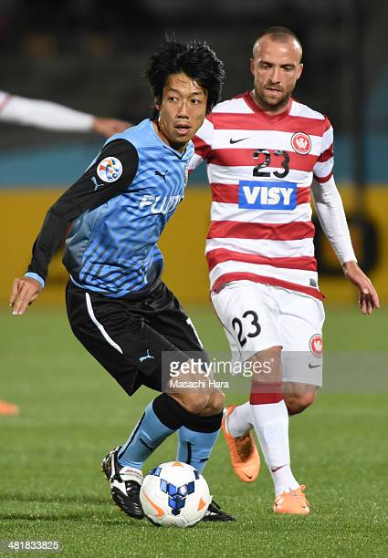 Kengo Nakamura of Kawasaki Frontale in action during the AFC Champions League Group H match between Kawasaki Frontale and Western Sydney Wanderers at...