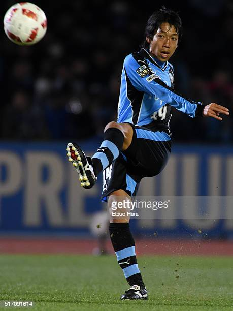 Kengo Nakamura of Kawasaki Frontale in action during the JLeague Yamazaki Nabisco Cup match between Kawasaki Frontale and Yokohama FMarinos at...