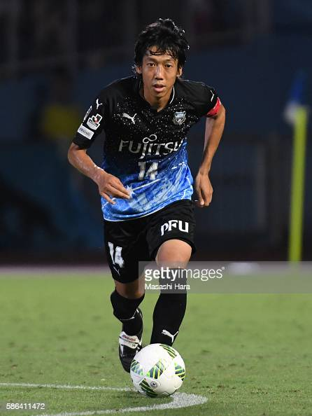 Kengo Nakamura of Kawasaki Frontale in action during the JLeague match between Kawasaki Frontale and Ventforet Kofu at the Todoroki Stadium on August...