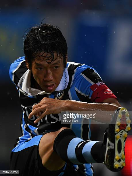Kengo Nakamura of Kawasaki Frontale in action during the JLeague match between Kawasaki Frontale and Kashiwa Reysol at the Todoroki Stadium on August...