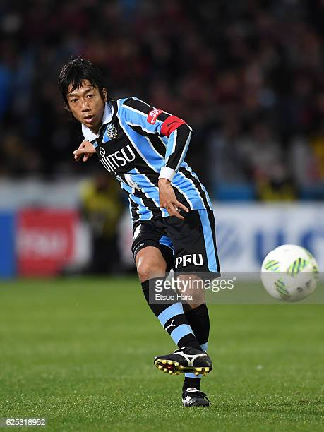 Kengo Nakamura of Kawasaki Frontale in action during the JLeague Championship SemiFinal match between Kawasaki Frontale and Kashima Antlers at...
