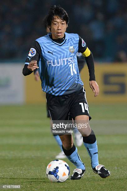 Kengo Nakamura of Kawasaki Frontale in action during the match between Kawasaki Frontale and Guizhou Renhe on February 26 2014 in Kawasaki Japan