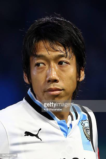 Kengo Nakamura of Kawasaki Frontale looks on the JLeague match between Kawasaki Frontale and Omiya Ardija at the Kawasaki Todoroki Stadium on June 25...
