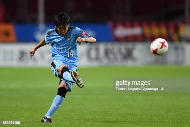 Kengo Nakamura of Kawasaki Frontale takes a free kick during the JLeague J1 match between Consadole Sapporo and Kawasaki Frontale at Sapporo Dome on...