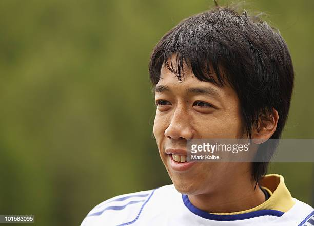 03 Kengo Nakamura speaks to the media during a Japan training session at SaasFee Stadium on June 3 2010 in SaasFee Switzerland