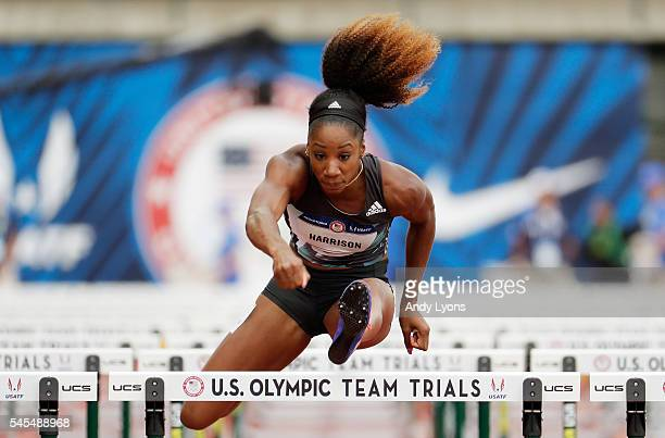 Keni Harrison competes in the first round of the Women's 100 Meter Hurdles during the 2016 US Olympic Track Field Team Trials at Hayward Field on...
