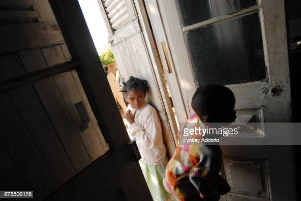 Kenia Moravelo stands by the door of the shelter where she has been staying since released from her most recent stay in the hospital November 9 2006...