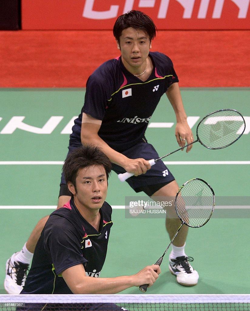Kenichi Hayakawa L and Hiroyuki Endo play a return to Chris