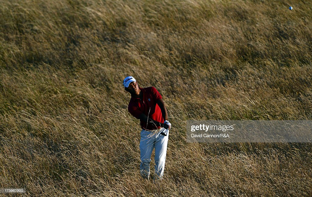 Kenichi Kuboya of Japan plays his third shot at the 17th hole during the first round of the 142nd Open Championship at Muirfield on July 18, 2013 in Gullane, Scotland.