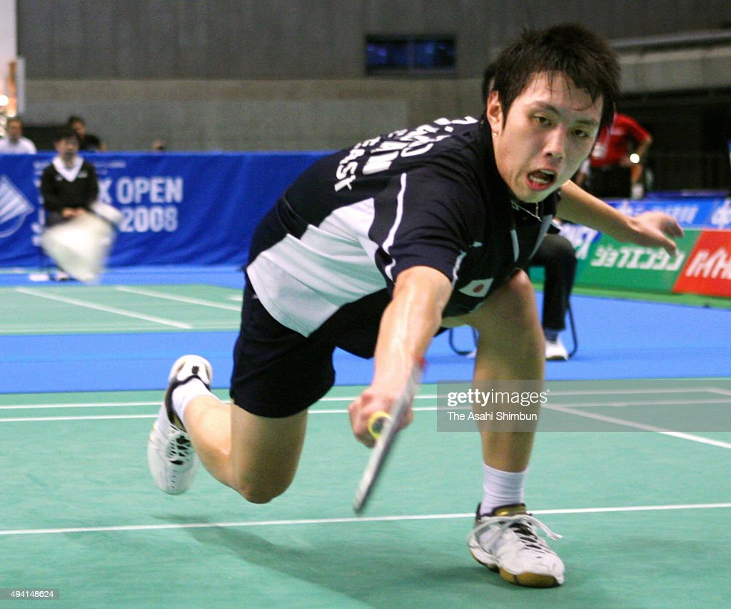 <a gi-track='captionPersonalityLinkClicked' href=/galleries/search?phrase=Kenichi+Tago&family=editorial&specificpeople=5533307 ng-click='$event.stopPropagation()'>Kenichi Tago</a> of Japan competes in the Men's singles quarter final during the Yonex Open at Tokyo Metropolitan Gymnasium on September 19, 2008 in Tokyo, Japan.