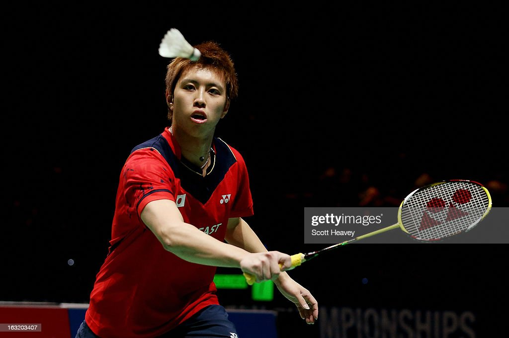 <a gi-track='captionPersonalityLinkClicked' href=/galleries/search?phrase=Kenichi+Tago&family=editorial&specificpeople=5533307 ng-click='$event.stopPropagation()'>Kenichi Tago</a> of Japan in action during Day Two of the Yonex All England Badminton Open at NIA Arena on March 6, 2013 in Birmingham, England.
