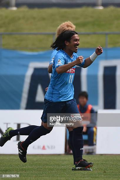 kenji Baba of Kamatamare Sanuk celebrates their 2nd goal during the JLeague second division match between Kamatamare Sanuki and FC Gifu at the Pikara...