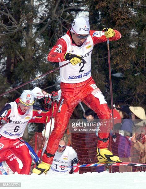 Kenji Ogiwara of Japan competes in the crosscountry of the FIS Nordic Combined World Cup Nozawa Onsen on February 8 2000 in Nozawaonsen Nagano Japan