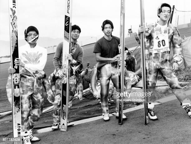 Kenji Ogiwara Takanori Kono Tsuguharu Ogiwara and Masashi Abe of Japan Nordic Combined team are seen during a training session at Nozawa Onsen Ski...