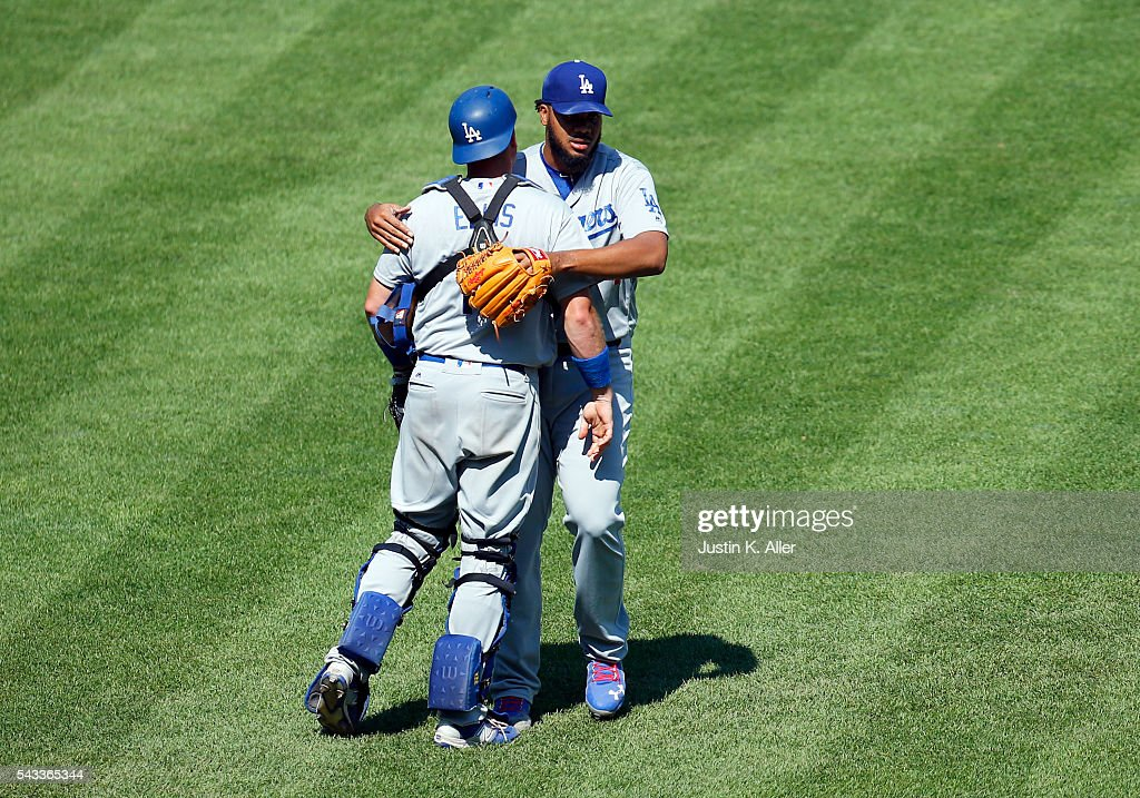 <a gi-track='captionPersonalityLinkClicked' href=/galleries/search?phrase=Kenley+Jansen&family=editorial&specificpeople=5751411 ng-click='$event.stopPropagation()'>Kenley Jansen</a> #74 celebrates a 5-4 win over the Pittsburgh Pirates with A.J. Ellis #17 of the Los Angeles Dodgers at PNC Park on June 27, 2016 in Pittsburgh, Pennsylvania.