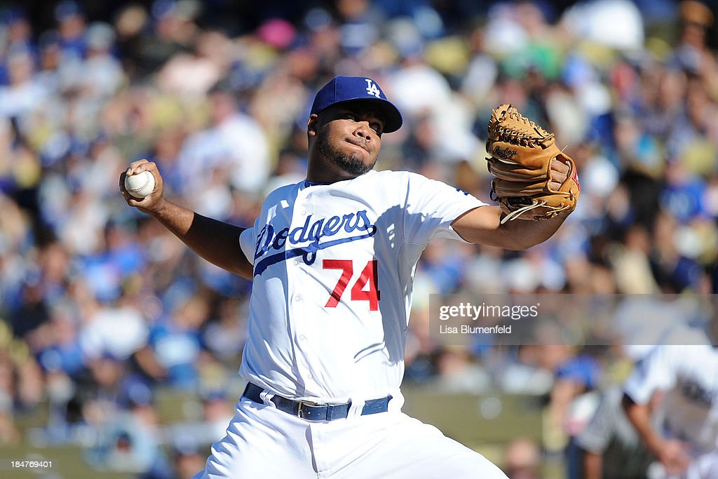 <a gi-track='captionPersonalityLinkClicked' href=/galleries/search?phrase=Kenley+Jansen&family=editorial&specificpeople=5751411 ng-click='$event.stopPropagation()'>Kenley Jansen</a> #74 of the Los Angeles Dodgers pitches against the Colorado Rockies at Dodger Stadium on September 29, 2013 in Los Angeles, California.