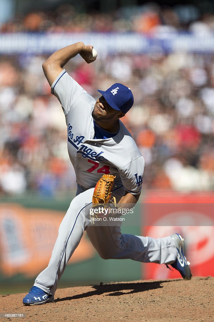 <a gi-track='captionPersonalityLinkClicked' href=/galleries/search?phrase=Kenley+Jansen&family=editorial&specificpeople=5751411 ng-click='$event.stopPropagation()'>Kenley Jansen</a> #74 of the Los Angeles Dodgers pitches against the San Francisco Giants during the ninth inning at AT&T Park on April 17, 2014 in San Francisco, California. The Los Angeles Dodgers defeated the San Francisco Giants 2-1.