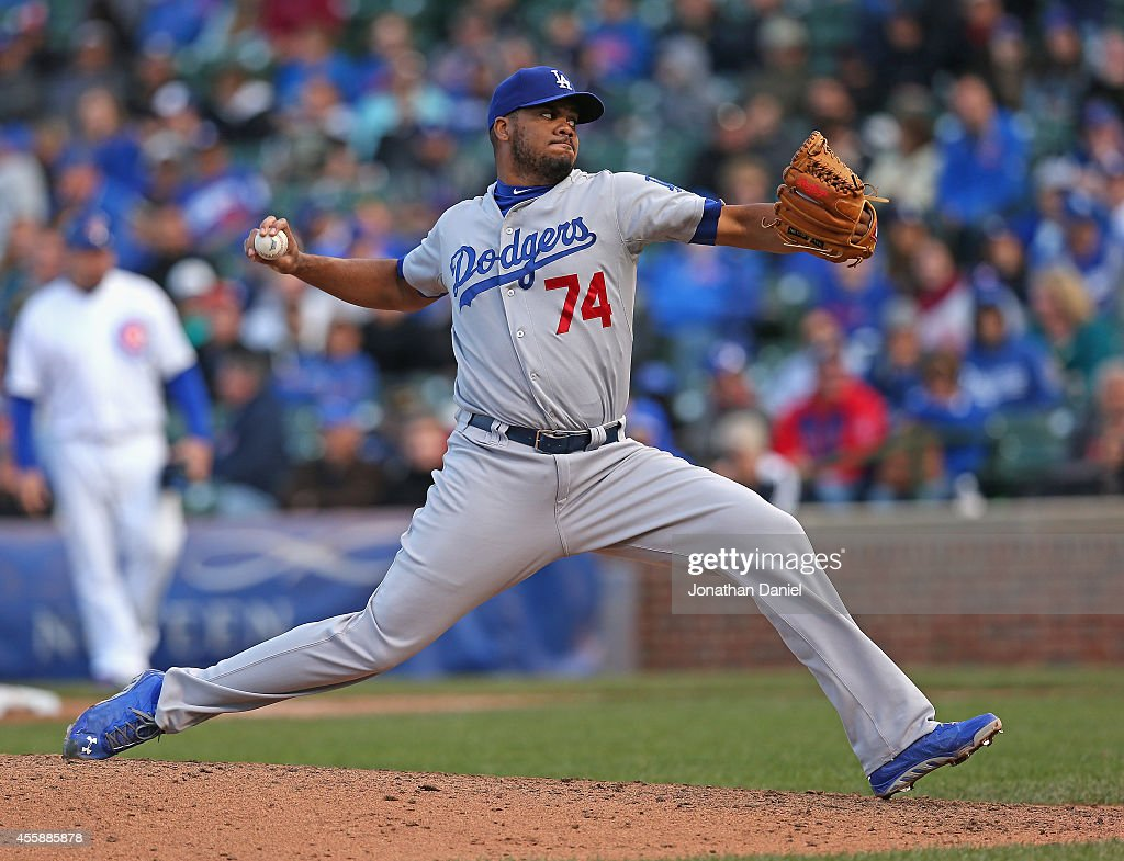 Kenley Jansen #74 of the Los Angeles Dodgers pitches in the 9th inning against the Chicago Cubs on his way to his 43rd save of the season at Wrigley Field on September 21, 2014 in Chicago, Illinois. The Dodgers defeated the Cubs 8-5.