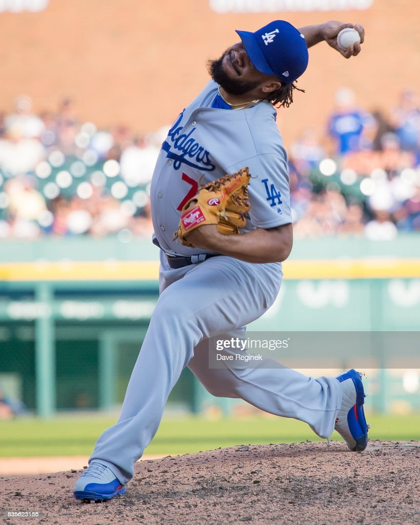 Kenley Jansen #74 of the Los Angeles Dodgers pitches in the ninth inning against the Detroit Tigers during a MLB game at Comerica Park on August 19, 2017 in Detroit, Michigan. The Dodgers defeated the Tigers 3-0.