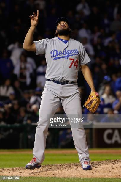 Kenley Jansen of the Los Angeles Dodgers reacts after defeating the Chicago Cubs 61 in game three of the National League Championship Series at...