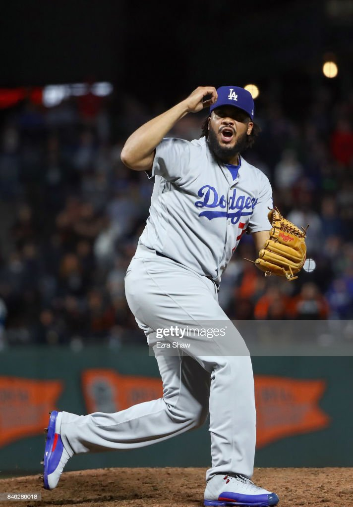 Kenley Jansen #74 of the Los Angeles Dodgers reacts after he struck out Nick Hundley #5 of the San Francisco Giants with the bases loaded to end their game at AT&T Park on September 12, 2017 in San Francisco, California.