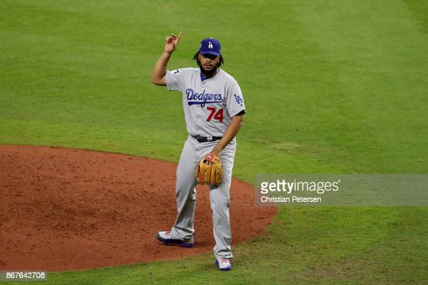 Kenley Jansen of the Los Angeles Dodgers reacts during the ninth inning against the Houston Astros in game four of the 2017 World Series at Minute...