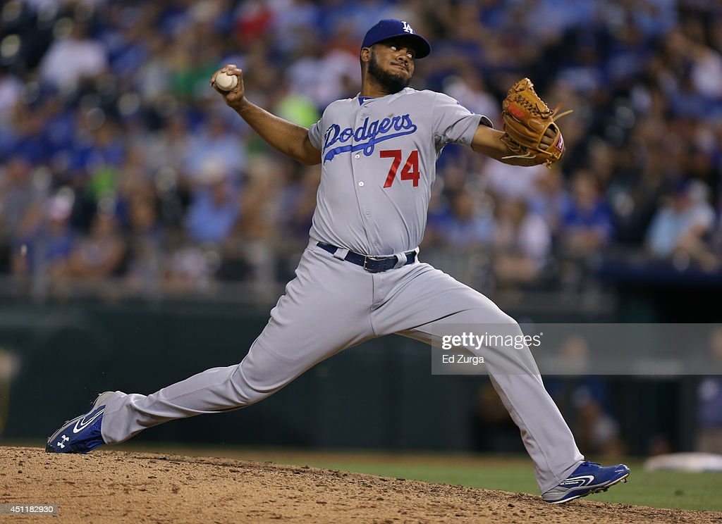 Kenley Jansen #74 of the Los Angeles Dodgers throws in the ninth inning against the Kansas City Royals at Kauffman Stadium on June 24, 2014 in Kansas City, Missouri.