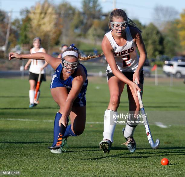 Kennebunk vs Biddeford Class A South quarterfinal Paige Laverriere of Biddeford clears the ball away from Britney Gregoire of Kennebunk in the second...
