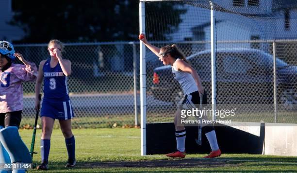 Kennebunk vs Biddeford Class A South quarterfinal Peyton McKeown of Biddeford retrieves the ball and raises it toward their fans after scoring the...