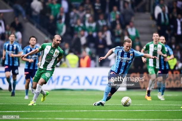 Kennedy Bakircioglu of Hammarby IF loses Gustav Engvall of Djurgardens IF during the Allsvenskan match between Hammarby IF and Djurgardens IF at...