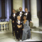Kennedy Center awardees posing Front violinist Isaac Stern singer Lena Horne rear L to R composer Gian Carlo Menotti playwright Arthur Miller and...