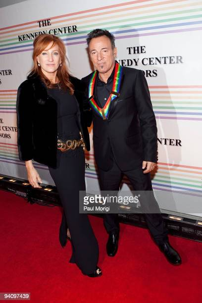 Kennedy Center honoree singer Bruce Springsteen arrives with his wife Patti Scialfa to the 32nd Kennedy Center Honors at Kennedy Center Hall of...