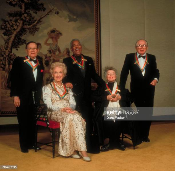 Kennedy Ctr honor medallions bedeckedhonorees Billy Wilder Katharine Hepburn Dizzy Gillespie Rise Stevens Jule Styne at honors fete