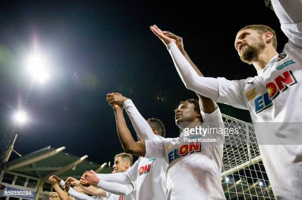 Kennedy Igboananike of Orebro SK celebrates after the victory during the Allsvenskan match between Orebro SK and Kalmar FF at Behrn Arena on October...