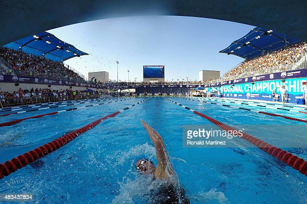 Kennedy Lohman competes in the Womens 100 LC Breaststroke final during the 2015 Phillips 66 National Championships at the Northside Swim Center on...