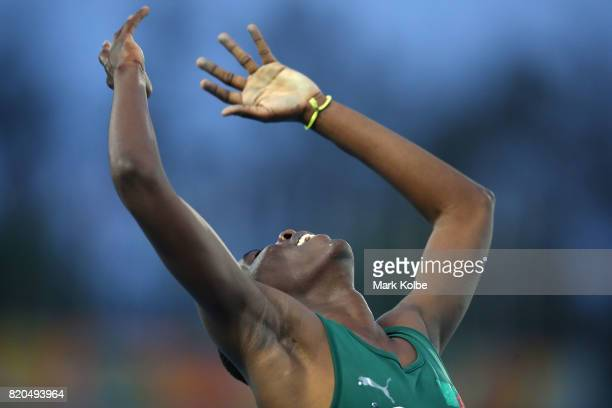 Kennedy Luchembe of Zambia celebrates victory in the Boys 400m Final on day 4 of the 2017 Youth Commonwealth Games at Thomas A Robinson National...